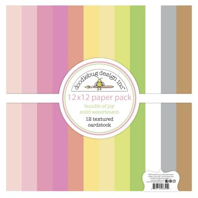 Doodlebug Baby Girl Cardstock - Textured Cardstock Assortment Pack